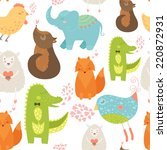 animal background with cute... | Shutterstock . vector #220872931