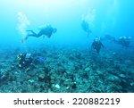diver underwater | Shutterstock . vector #220882219