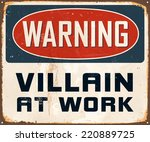 vintage metal sign   warning... | Shutterstock .eps vector #220889725