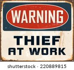 vintage metal sign   warning... | Shutterstock .eps vector #220889815