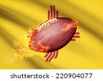 American football ball with flag on background series - New Mexico