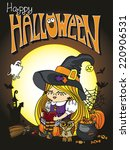 little halloween witch girl... | Shutterstock .eps vector #220906531