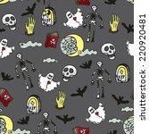 halloween doodles seamless... | Shutterstock .eps vector #220920481