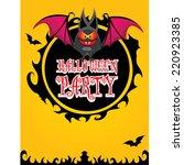 vector happy halloween card... | Shutterstock .eps vector #220923385