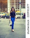 Business Woman Walking. Wearing ...