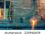 construction site at night with ... | Shutterstock . vector #220960639