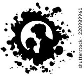 silhouette of woman and child... | Shutterstock .eps vector #220989961