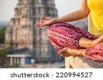 woman doing meditation near... | Shutterstock . vector #220994527