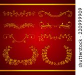 set of elegant calligraphic... | Shutterstock .eps vector #220999909