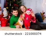 portrait of a happy family and... | Shutterstock . vector #221000374