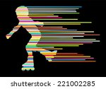 roller skating silhouettes... | Shutterstock .eps vector #221002285