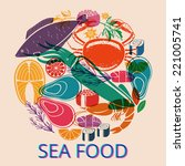circular seafood graphic with... | Shutterstock . vector #221005741