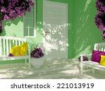 front view of door on a green... | Shutterstock . vector #221013919