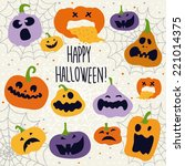 halloween decoration jack o... | Shutterstock .eps vector #221014375