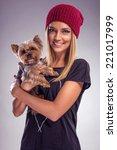 pretty blond woman dressed in... | Shutterstock . vector #221017999