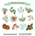 christmas decoration .  set of... | Shutterstock .eps vector #221025409