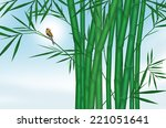 Little Bird In Bamboo With Blu...