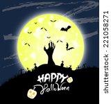 halloween night  black castle... | Shutterstock .eps vector #221058271