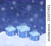 christmas blue background with... | Shutterstock .eps vector #221071921