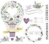 vintage floral hot air balloon | Shutterstock .eps vector #221081161