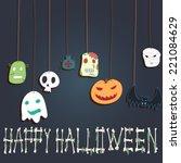 halloween  card. monster head.  | Shutterstock .eps vector #221084629