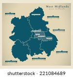 modern map   west midlands uk | Shutterstock .eps vector #221084689