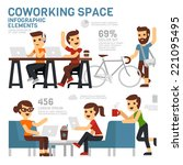 coworking space infographics | Shutterstock .eps vector #221095495