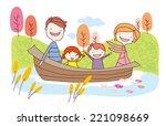 happy family in ship. family...   Shutterstock .eps vector #221098669