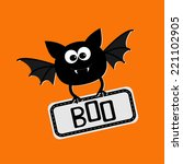 cute bat with plate boo. happy... | Shutterstock .eps vector #221102905