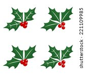 set of holly berry christmas... | Shutterstock .eps vector #221109985