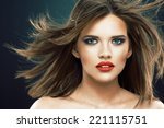 young beauty model with blowing ... | Shutterstock . vector #221115751