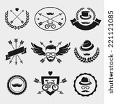 hipster elements and labels set.... | Shutterstock .eps vector #221121085