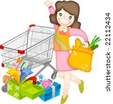 smiling mommy's happy shopping... | Shutterstock .eps vector #22112434