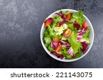 fresh mixed salad with endive... | Shutterstock . vector #221143075