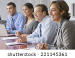 hispanic businesspeople at... | Shutterstock . vector #221145361