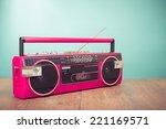 retro pink radio cassette... | Shutterstock . vector #221169571
