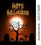 halloween card. vector... | Shutterstock . vector #221173669