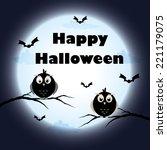 halloween cute owl card | Shutterstock .eps vector #221179075