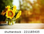 Beautiful Sunflowers On Table...