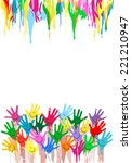 painted hands background | Shutterstock .eps vector #221210947