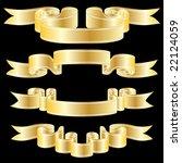 set of golden vector ribbons on ... | Shutterstock .eps vector #22124059