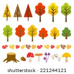 autumn tree and mushroom set | Shutterstock .eps vector #221244121