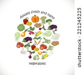 isolated vegetables in a circle.... | Shutterstock .eps vector #221245225