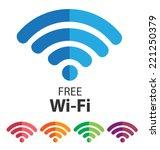 vector wifi symbol  free wifi   Shutterstock .eps vector #221250379