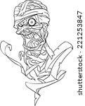 mummy bust line art  | Shutterstock . vector #221253847