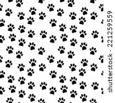 Stock vector paw seamless pattern on white background vector illustration 221259559
