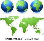 vector globes and atlas map | Shutterstock .eps vector #22126453