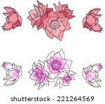 a set of pink hand drawn... | Shutterstock .eps vector #221264569