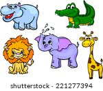 Stock vector set of wild animals first vector illustration for children 221277394