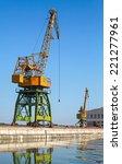 big industrial harbor cranes... | Shutterstock . vector #221277961
